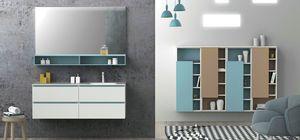 Torana TR 021, Armoire de toilette blanche avec détails bleus, évier intégré dans le haut