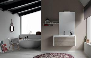 Dress 2.0 comp.03, Composition de salle de bain avec étagères et meubles suspendus