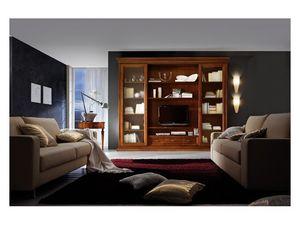 Art.0777/L, Paroi aménagée en bois pour les pièces à vivre, style classique