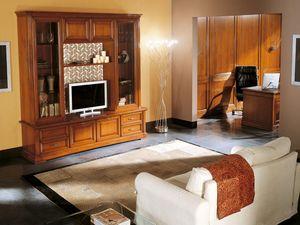 Art.103/L, TV-Stand en bois massif, style classique
