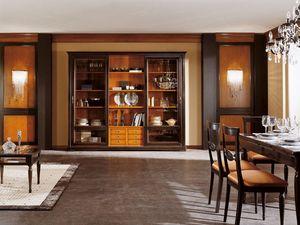 Art.105/L, Cabinet avec portes en verre et des étagères en bois