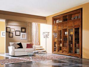 Art.110/L, Cabinet en bois avec portes en verre pour salons