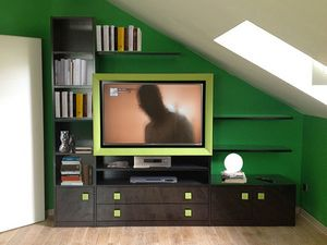 Art. 2830 Clover, Unité de stockage pour le salon, cadre de cuir pour la télévision