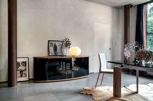 ASIA, Buffet en bois avec portes de verre incurvées adaptées pour la salle à manger ou le salon
