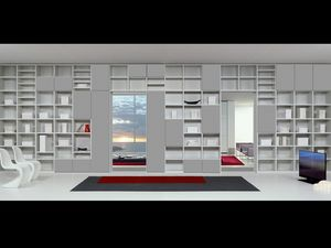 Jour Bibliothèque 15, Mobilier modulaire avec des formes essentielles, pour des séjours