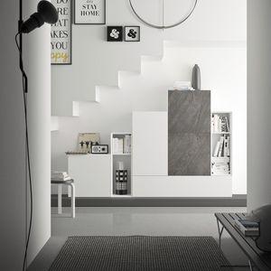 Spazio S308, Système de mur pour le salon, avec une haute qualité