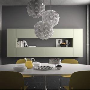 Spazio S307, étagère modulaire, en pierre, le verre, l'aluminium, le bois