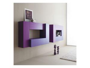 Box - Volumi 02, Mobilier modulaire pour le salon, montage mural