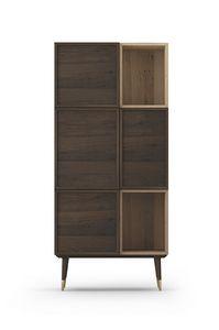 Cabinet Coco 012, Armoire en chêne avec portes pliantes