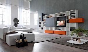 Citylife 34, Bibliothèque avec meuble tv idéal pour les salles de vie modernes