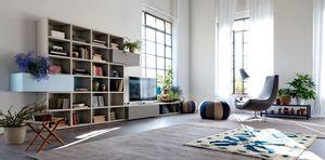 Citylife 37, Composition moderne pour salles de séjour, avec des portes et des volets
