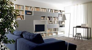 Citylife 38, Composition moderne pour salles de séjour, avec des étagères
