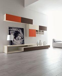 Citylife 43, Composition moderne pour le salon, avec des unités murales