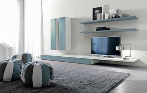 Citylife 44, Système modulaire pour le salon, avec des étagères et des armoires