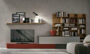 Comp.e A114, Meubles de salon avec bibliothèque en bois