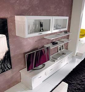 Exclusive système de mur équipé, Meuble modulaire pour salon, en bois blanc