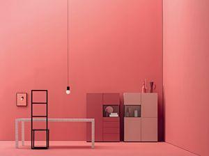 GRAPHOS GLASS 204, Meubles de salon avec des tiroirs et des portes en verre