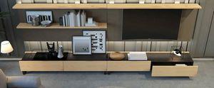 Ironwood TV composition Jupiter Oak, Meubles de salon avec meuble TV et tiroirs