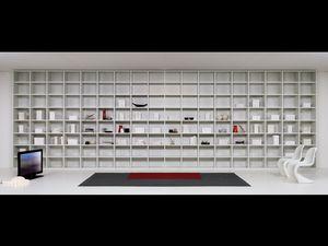 Jour Bibliothèque 04, Mobilier modulaire pour le salon, des modules de différentes formes