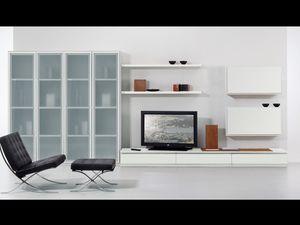 Mur Jour 05, Ensemble de meubles pour salle de séjour, avec des fenêtres et des étagères