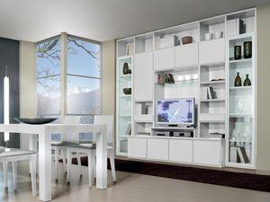 Mur jour 10, Système modulaire pour le salon et la salle à manger, avec meuble TV