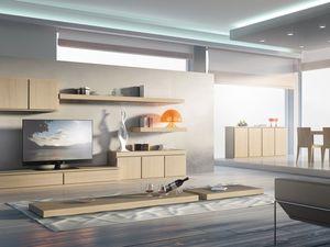 Systèmes jour 01, Système de meubles pour les séjours, modulaires, essentiels