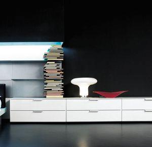 PRISMA comp.03, Meuble bas avec 4 tiroirs à roulettes, pour la maison
