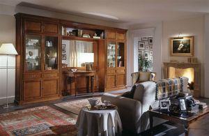 R 03, Meuble classique pour salon avec vitrine et miroir