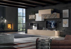 Spazio Contemporaneo SPAZ04, Mobilier modulaire en bois pour salon