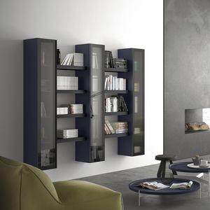 Spazio S304, étagère modulaire, avec vitrine, pour la vie moderne