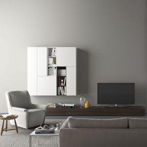 Spazio S310, Système de mur avec meuble TV, avec éclairage