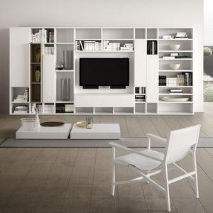 Spazioteca SP014, Système modulaire pour le salon moderne, en bois