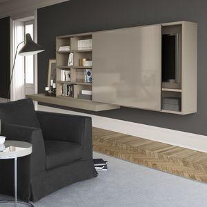 Spazioteca SP015, Système modulaire pour le salon en bois, avec salut-fi