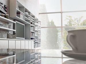 Systèmes Jour 06, Systèmes modulaires pour salon, avec étagères et armoires