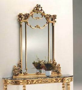 2635 miroir, Miroir à feuille d'or, en bois sculpté