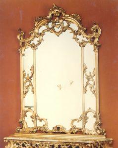 560 Miroir, Miroir de style baroque, avec cadre sculpté à la main