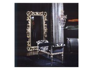 701 MIRROR, Miroir en bois, finition argent, le style de luxe classique
