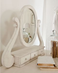 Amedeo miroir, De table miroir, avec des tiroirs, incrusté