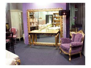 Art. 1799 Audrey, Grand miroir classique, carr�, en bois, pour hall