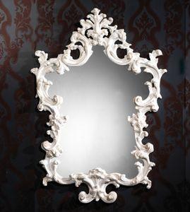 Art. 20502, Miroir avec cadre blanc sculpté