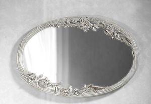 Art. 20525, Miroir blanc, avec sculpture florale