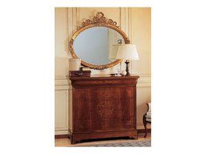Art. 2170/0 '800 Francese Luigi Filippo, El�gant miroir ovale, cadre dans la finition de la feuille d'or, sculpt� � la main