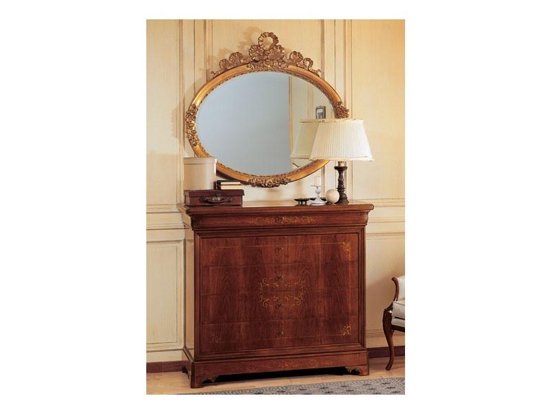 Art. 2170/0 '800 Francese Luigi Filippo, Elégant miroir ovale, cadre dans la finition de la feuille d'or, sculpté à la main