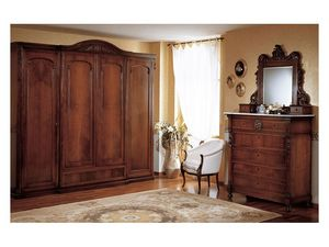 Art. 973 mirror '800 Siciliano, Miroir avec cadre en bois sculpté à la main, pour la chambre