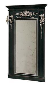 Canaletto RA.0844, Miroir Lacquared avec des décorations marquetés et colonnes latérales