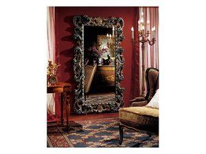Complements mirror 854, Grand miroir rectangulaire avec cadre en bois décorée
