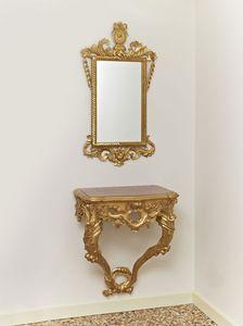 CONSOLE + MIROIR ART. CL0001 + CR 0023, Jeu classique avec la console et miroir, sculpté de motifs végétaux