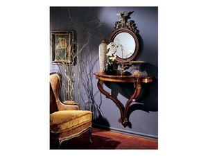 Console mirror 863, Miroir rond avec cadre en bois d�cor�e
