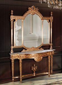 F360, Console doré et miroir dans le style de luxe classique