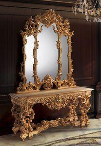 F770, Console et miroir doré, style luxueux classique